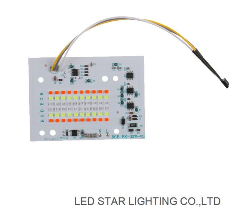 Wireless remote control linear driverless pcb 30w 50w 100w RGB flood light ac dob led module
