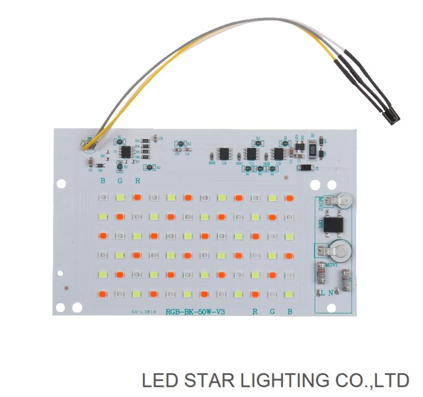 Remote control AC220V SMD2835 30w 50w 100w RGB Flood light driver on board pcb with DOB driver