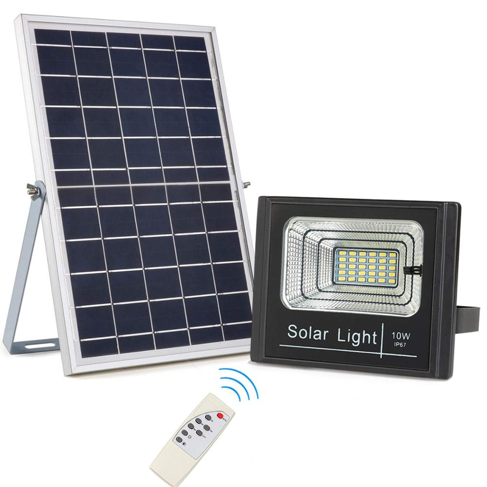 Dusk to Dawn Powered Light Outdoor IP67 with Remote Control Solar Chargeable 10W LED Solar light