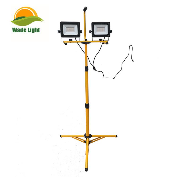 Portable Dual-Head 50W 5000 Lumen LED Flood Work Light with Tripod