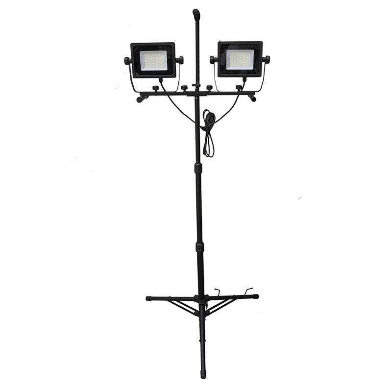 Portable Dual-Head Metal Lamp Housing and Telescoping Tripod 50W 5000 Lumen LED Flood Work Light