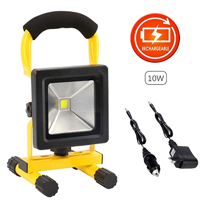 10W LED Work Light Rechargeable Portable Floodlight Waterproof Camping Battery Emergency Spotlight