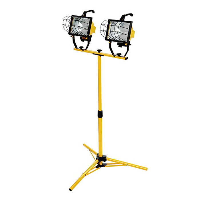 Dual-Head 500W Halogen Flood Work Light with Metal Lamp Housing and Adjustable Telescoping Tripod