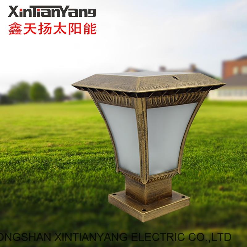 Xintianyang solar energy flame column head lamp outdoor waterproof door column wall head lamp Chines