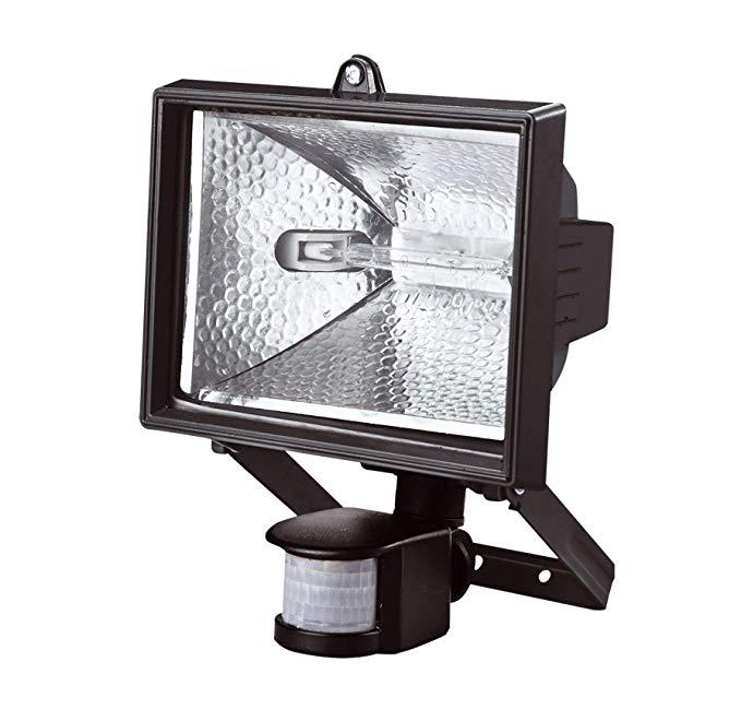 Aluminium 150W Black Halogen Floodlight with PIR Motion Sensor Security Light