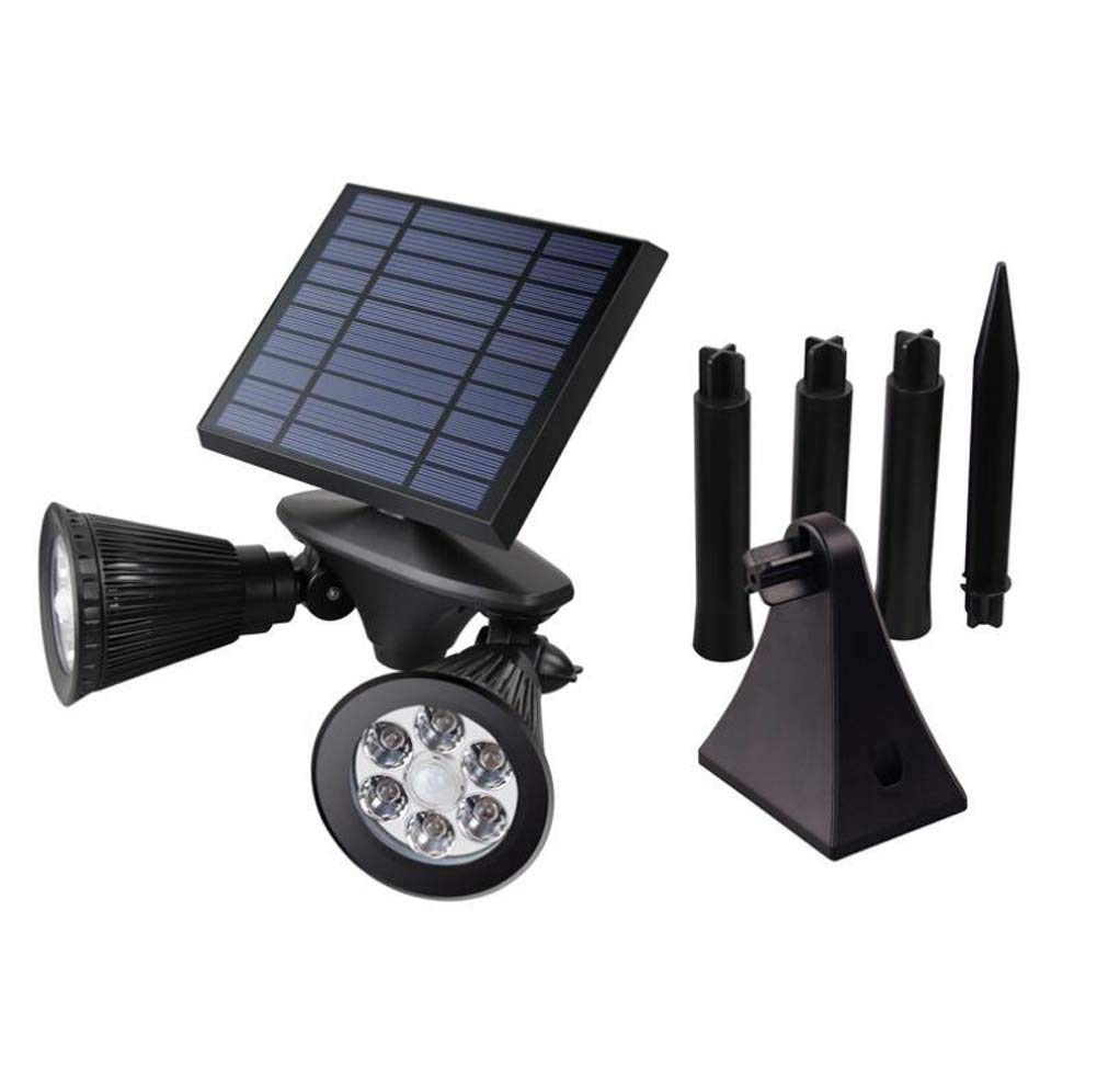 Solar Double Spot light with stake Upgraded Motion Sensor Solar b12 LED Dual head