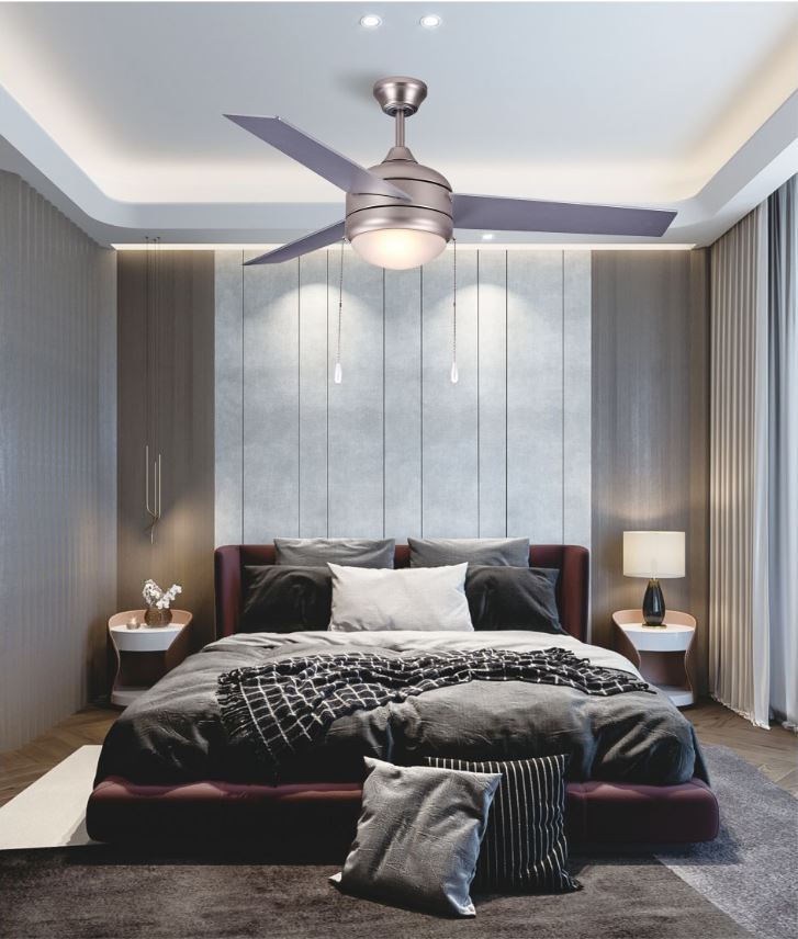 Brushed Nickel Ceiling Fan with 3 MDF Blades