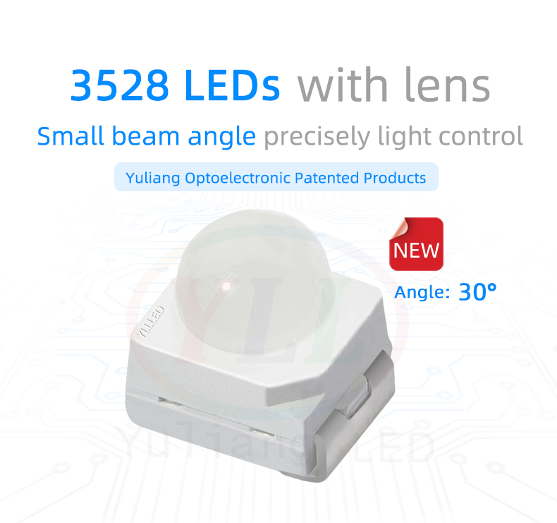 3528 LEDs with lens SMD small beam angle 30° 3528 LED