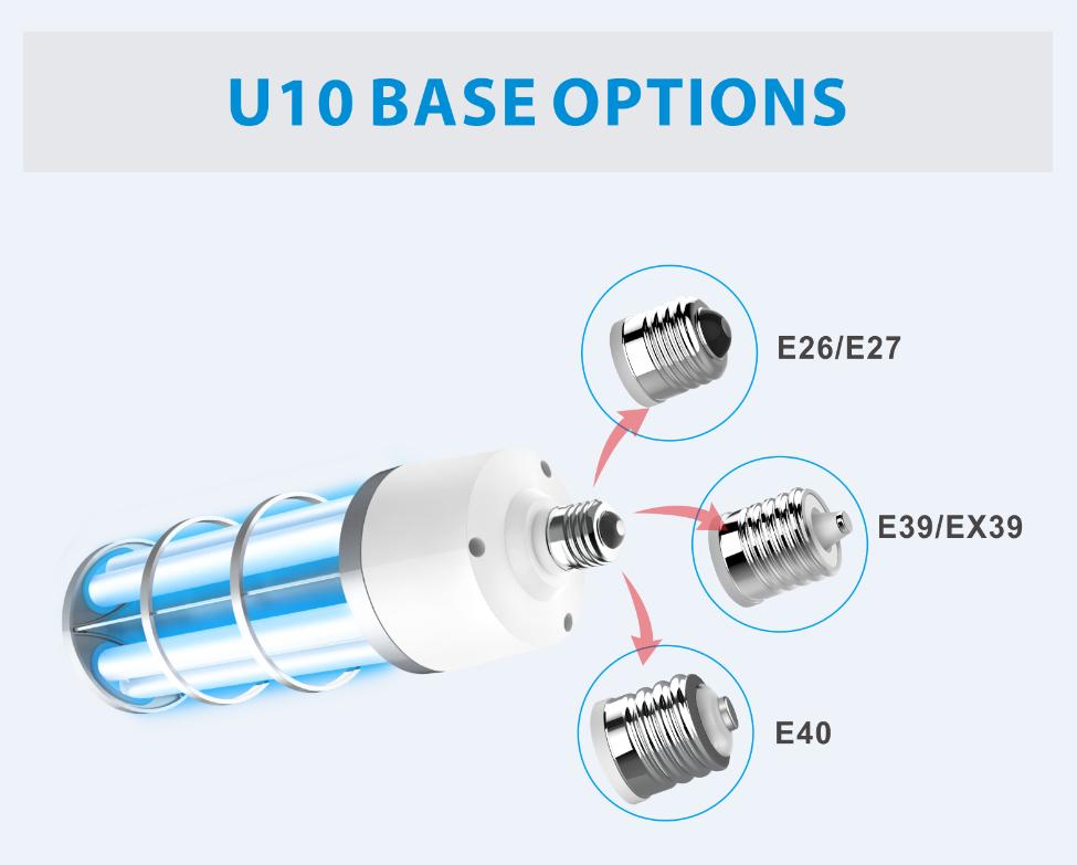e26 e27 ozone-free UV lamp sterilizer CE FCC UL FDA 360 degree disinfection performance