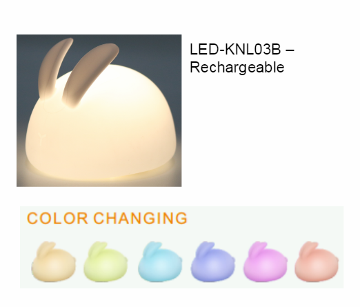 Cute RGB Rabbit Lamp For Children Baby Kids USB Charged led Silicone clap switch lamp Touch Sensor