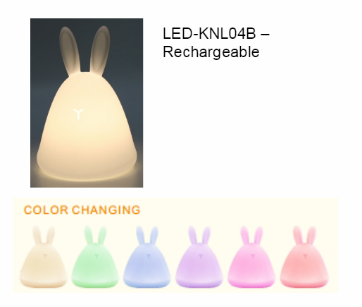 Cute RGB Rabbit Lamp For Baby Kids USB Charged led Silicone clap switch lamp Touch Sensor