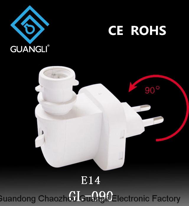 E14 CE ROHS lamp socket salt lamp night light electrical plug socket rotating Eu plug GL-090