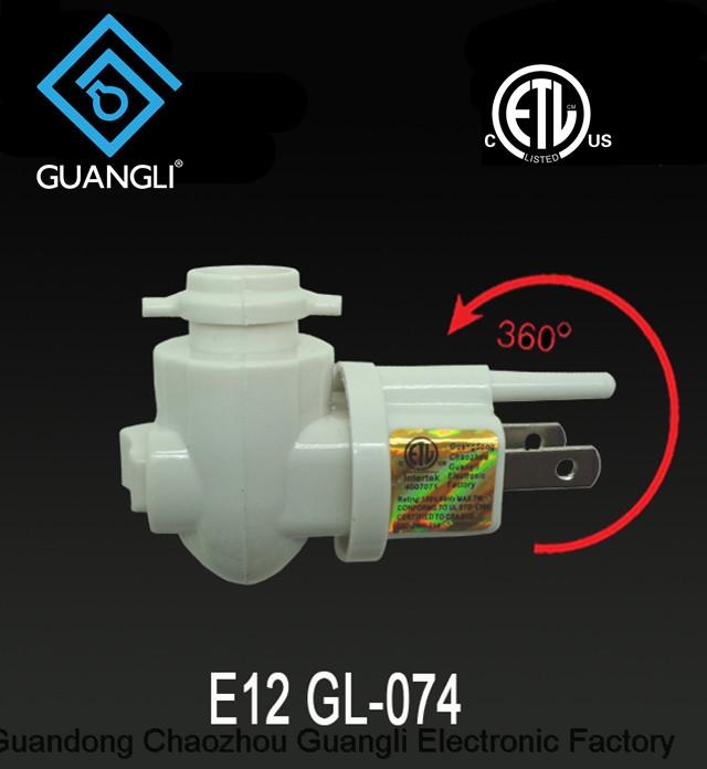E12 ETL USA Canada night light electrical plug lamp socket rotating plug in salt lamp holder GL-074