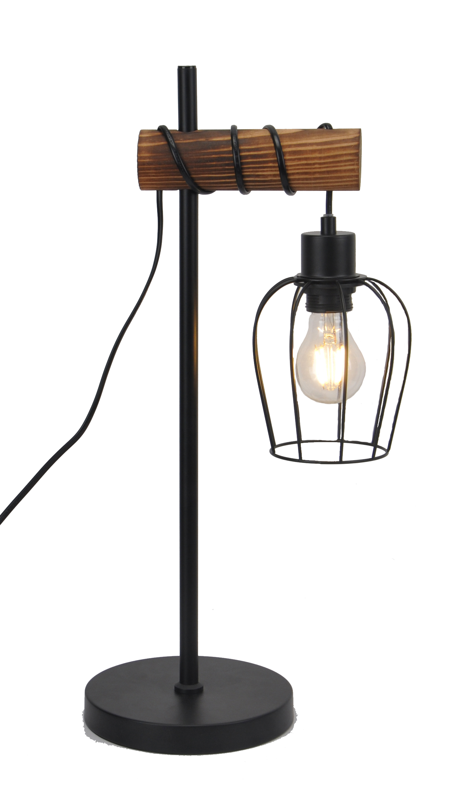 Table lamp with smoked wood