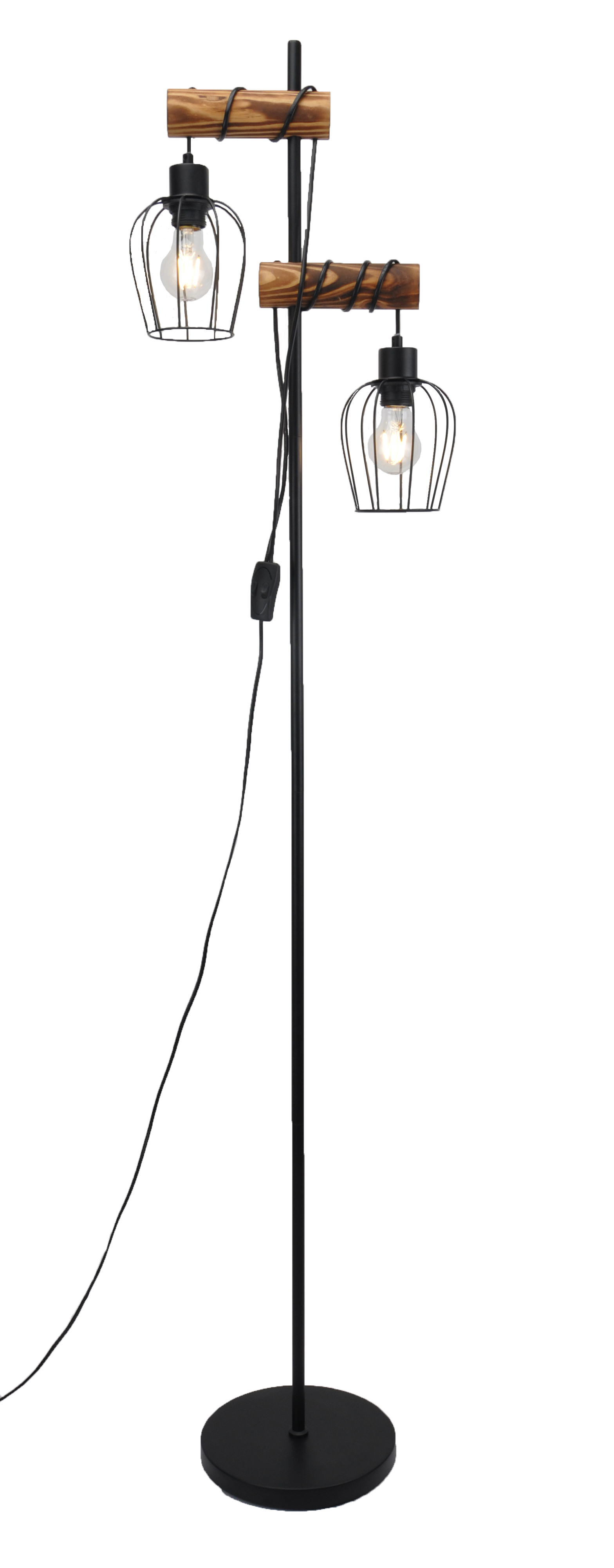 Floor lamp with smoked wood