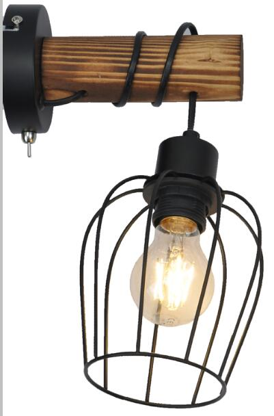 Wall lamp with smoked wood