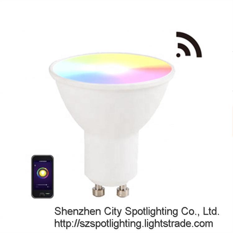 Amazon Alexa Google Assistant Voice Control GU10 LED Bulb Dimmable RGB GU10 Smart Spot Light Bulb 5W