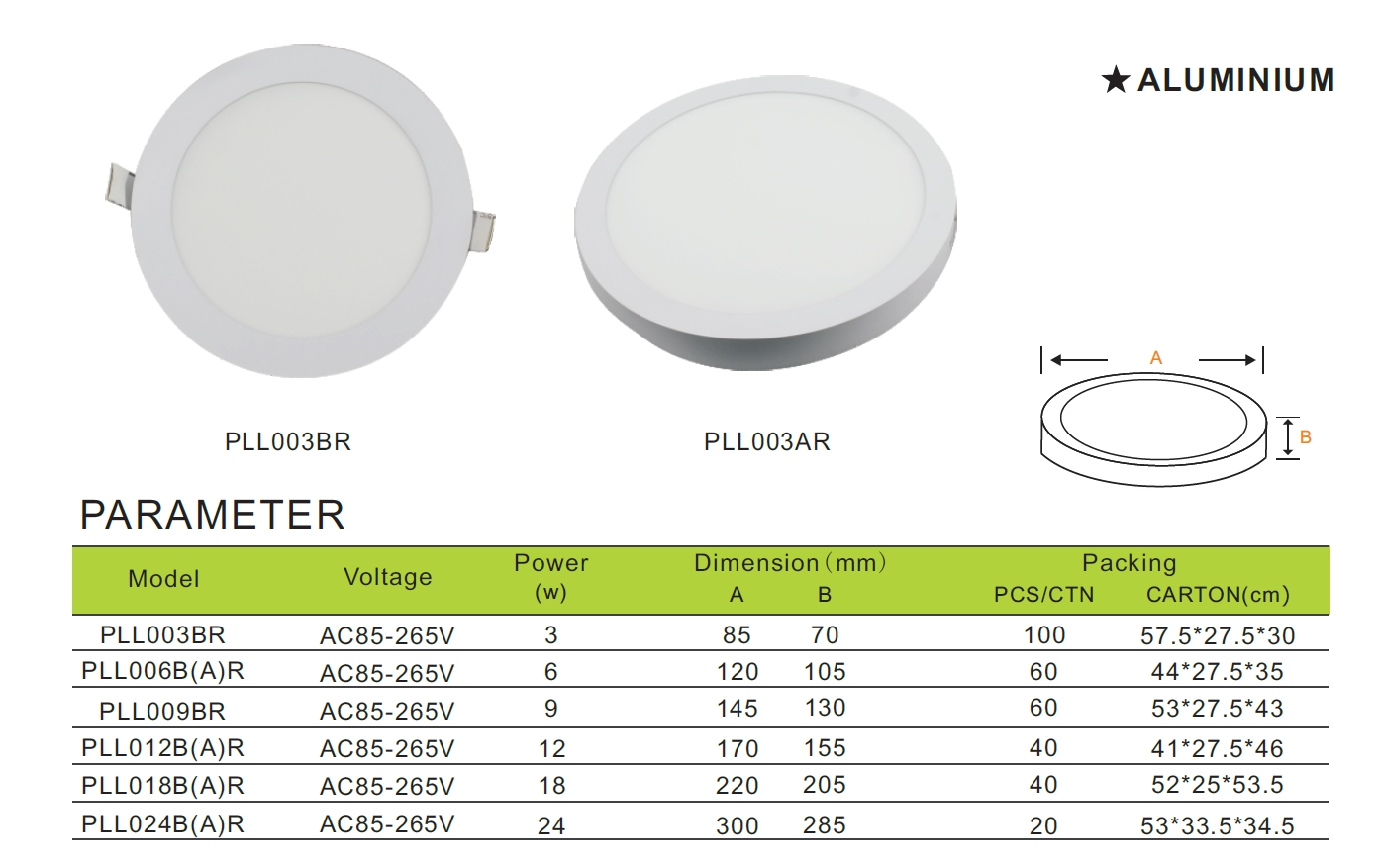 Round LED panel light recessed light office use light